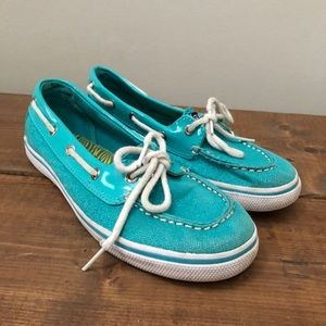 Sperry Topsider Shoes Metallic Blue Youth Size 3